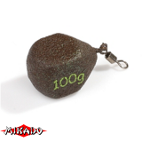 Грузило карповое с вертлюгом типа кубик 100 г (зелёное) - миниатюра