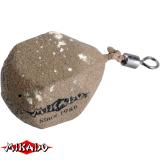 Грузило карповое с вертлюгом типа кубик 100 г (песочное) - миниатюра