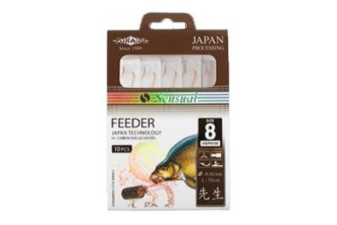Крючки с поводками Mikado SENSUAL FEEDER (цвет никель, уп. 10 шт)