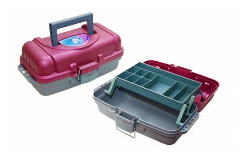 Ящик для рыбалки пластиковый ТРИ КИТА с микролифтом, 1 полочка