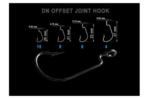 Офсетный крючок Crazy Fish DN Offset Joint Hook DNOJH-4, 8, 10