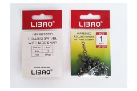 Карабины с вертлюгами LIBAO LB-007 уп.10 шт.